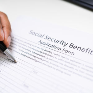 a person filling social security form